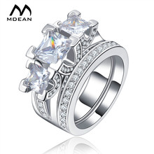 MDEAN Wedding Ring Sets White Gold Color Jewelry For Women Luxury Party AAA Zircon Jewelry Fashion Female  Size 6 7 8  MSR131