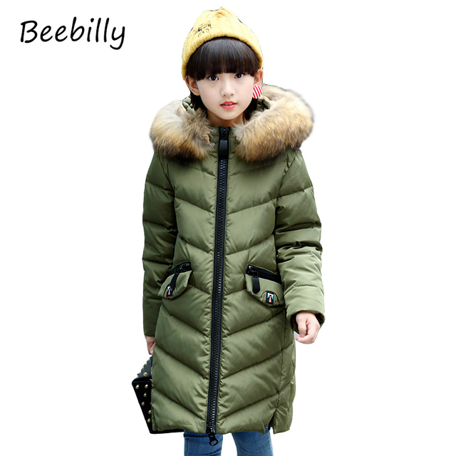 2017 Girls Duck Down Jackets Coats Winter Girl Coats Thick Duck Feather Warm Jacket Children Outerwear Clothing For -30degree