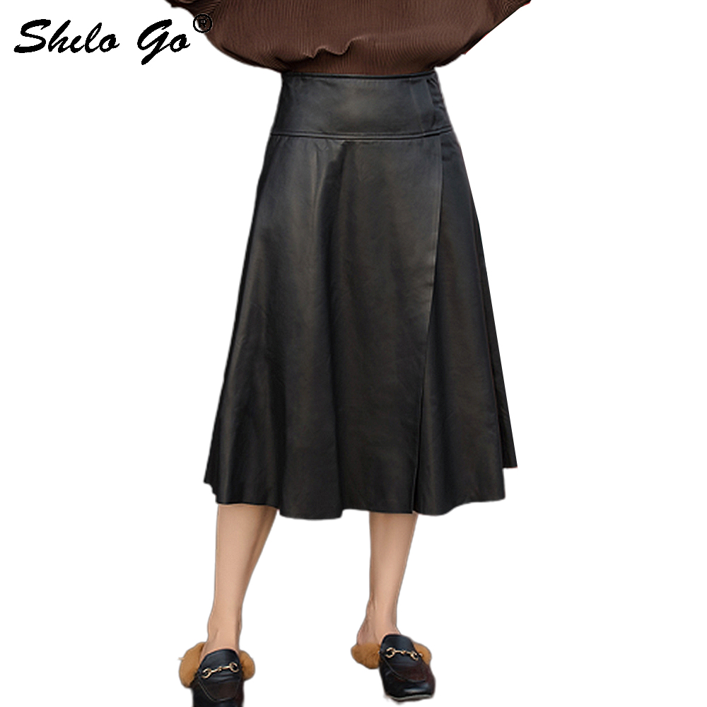 Elegant Leather Skirts Womens Office Lady High Waist Sheepskin Genuine Leather A Line Skirts Concise Female Mid Calf Skirts