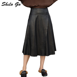 Elegante Lederen Rokken Womens Office Lady Hoge Taille Schapenvacht Lederen EEN Lijn Rokken Beknopte Vrouwelijke Mid Calf Rokken