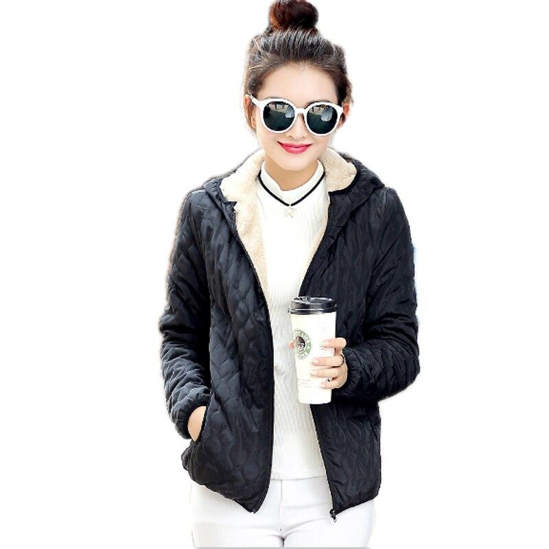 Yeni 2016 Moda Kış Ceket Kadınlar Ince Rahat Katı Kapşonlu Kısa Kadın Pamuk Ceket Artı Boyutu Kore Sıcak Parka