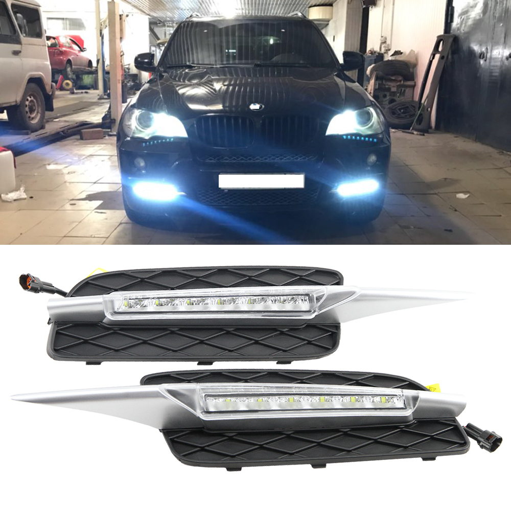 Hot Sale Car 12V LED Daytime Running Light DRL Daylight for BMW X5 E70 2007-2009 drl Kit White 6000-6700K Color oem fit car daytime running light 6 led drl daylight kit for for bmw x5 e70 07 09 super white 12v dc head lamp