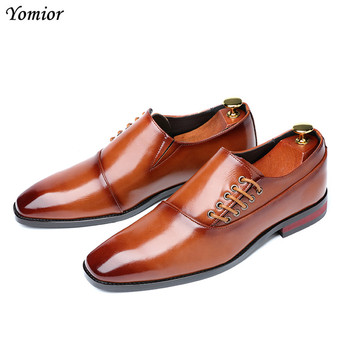 Yomior New Spring Summer Men's Dress Shoes Japanese Formal Business Oxfords Vintage Men Elegant Shoes Party Wedding Shoe Black