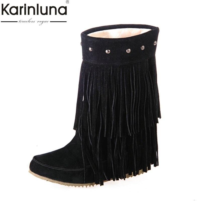 Karinluna Women fringes slip on Boots comfort mid calf Boots Rivet women shoes boots woman Winter plush woman Shoes Snow Boots