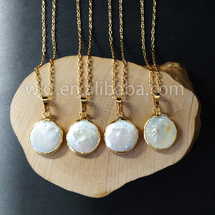 WT-N507 Hot sale gold dipped round pearl necklace fancy natural freshwater pearl necklace latest design of pearl necklace