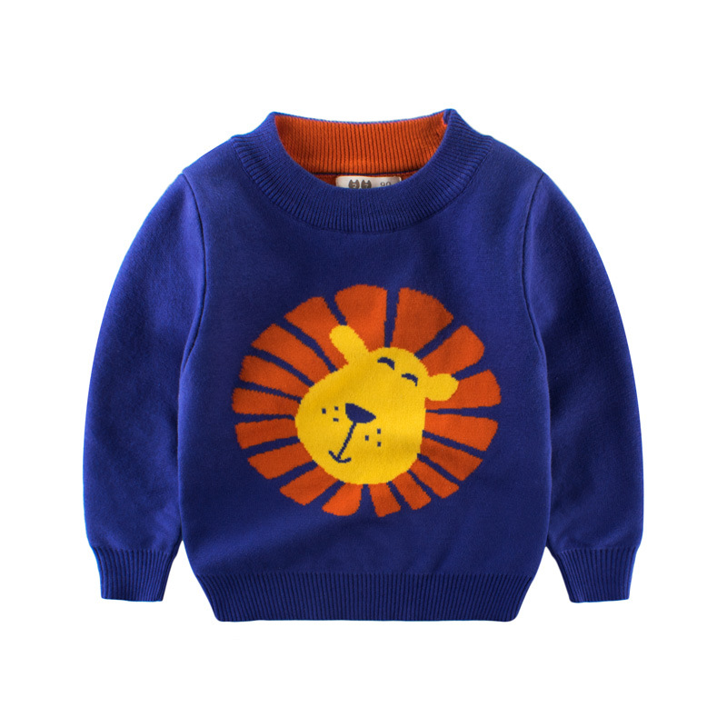 2017 Neue Herbst Junge Pullover Pullover Pullover Für Jungen Baumwolle Winter Tops Kinder Gestrickte Lion 2-10 Jahre Kinder Der Kleidung