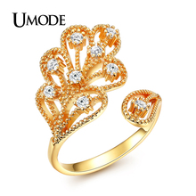 UMODE Brand Fashion Adjustable Cute Vintage Gold Plated CZ  Leaf Rings For Women Jewelry Bagues Anillos Mujer AUR0308A