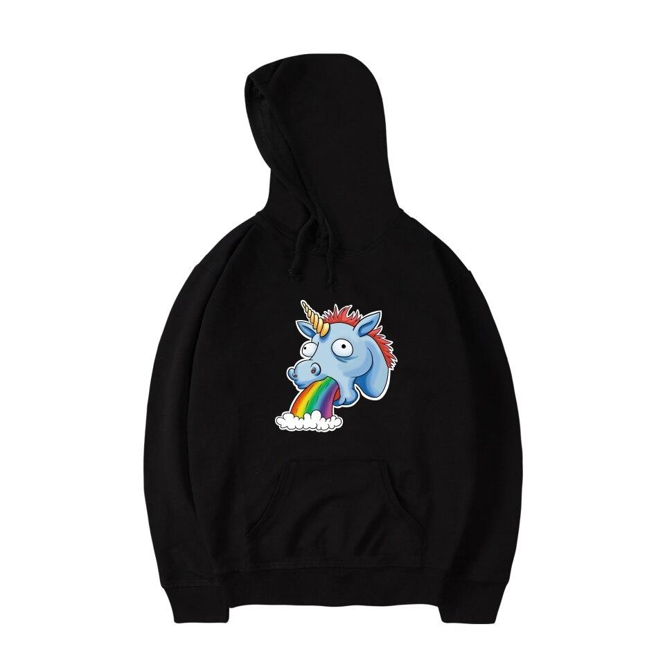 LUCKYFRIDAYF 2017 Unicorn Harajuku Print Funnt Hoodies Women/Men Sweatshirts Autumn Streetwear Cap Anime Hoodies Casual Hoodies