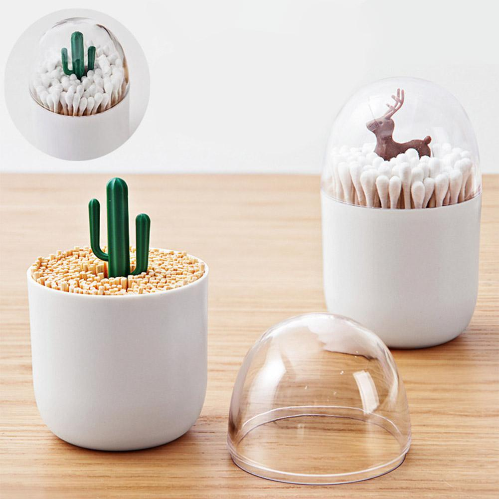 Cute Carton Dustproof Cotton Swab Holder Storage Box Table Decoration Toothpick Organizer Boxes Tampon Box Empty Container