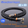 EMS Free Shipping 15M Ultimate High Speed HDMI 2.0 Cable With Ethernet Silver plated copper Full HD 2160P 4K 3D for PS3 LCD HDTV