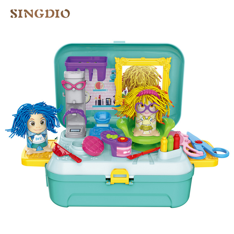 Children's Gift 3D Model Plasticine Modeling Tools Color mud toy barber Storage suitcase backpack DIY Mold clay Set hairdresser 25pcs clay tools modeling tools sculpting tools sculpture tools for pottery sculpture fondant cake decorating