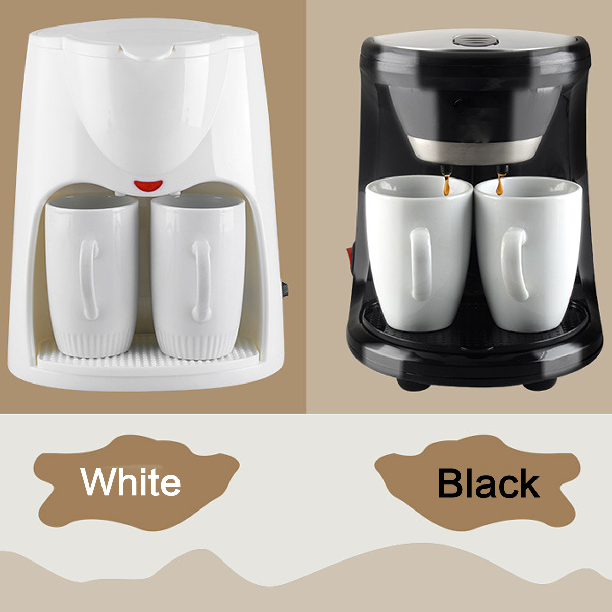 Warmtoo Mini Electric Automatic Dual Use Coffee Machine 2 Cups Drip Coffee Tea Maker for Home Office Cafe Black 220V White 230V 500w 2 cups drip coffee machine electric espresso coffee maker for home cafe bar coffee pot automatic coffee maker