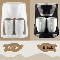 Warmtoo Mini Electric Automatic Dual Use Coffee Machine 2 Cups Drip Coffee Tea Maker for Home Office Cafe Black 220V White 230V