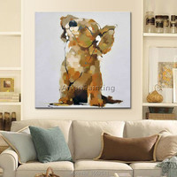 Dog painting Decorative wallpaper dog pop art modern abstract canva Oil painting to the living room wallpaper art