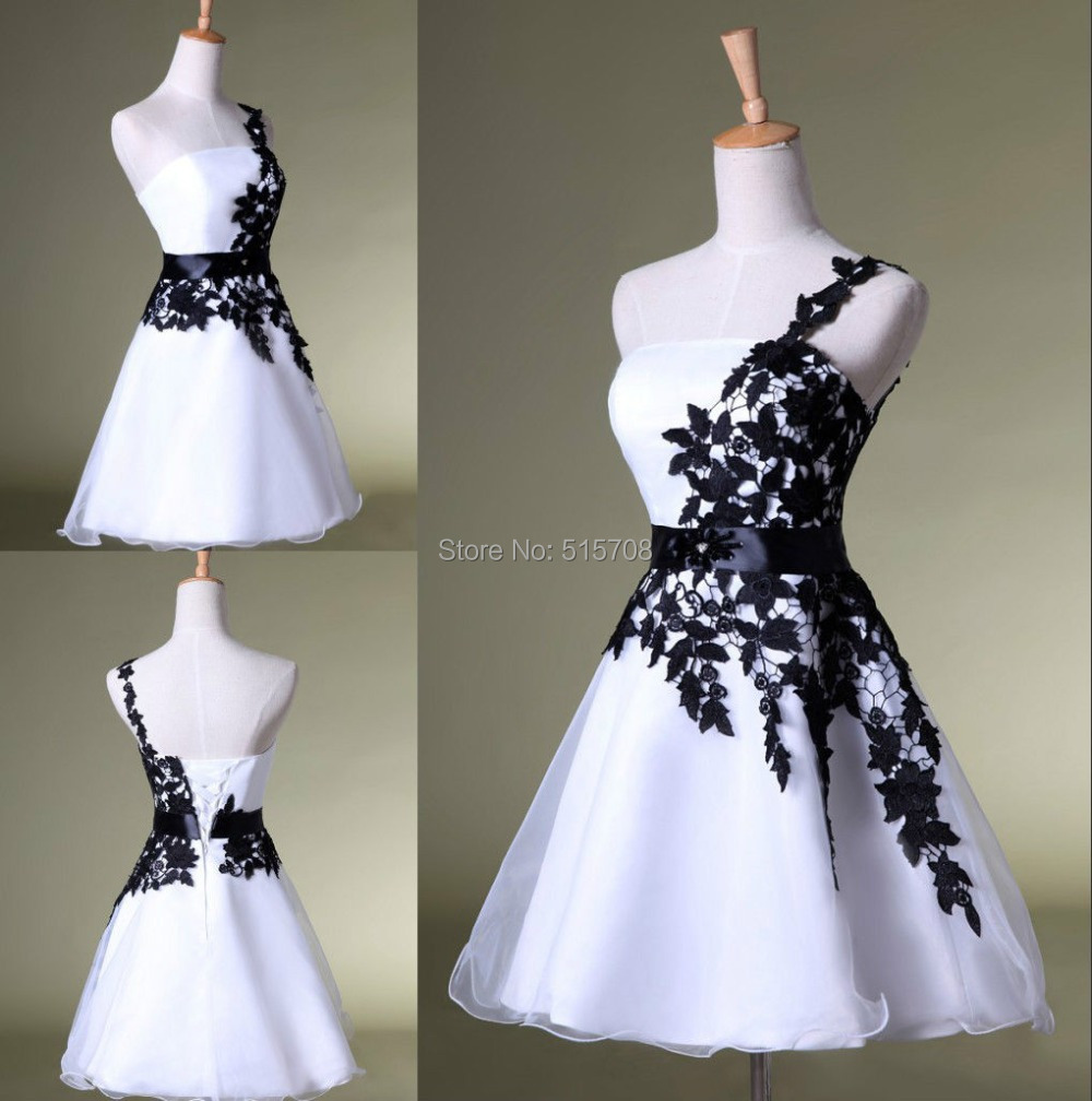 dfb5ff36c06 One Shoulder Black Lace White Homecoming Dress Cheap Short Mini Prom Party  Cocktail Graduation Girl Dress under 100
