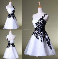 One Shoulder Black Lace White Homecoming Dress Cheap Short Mini Prom Party Cocktail Graduation Girl Dress under 100
