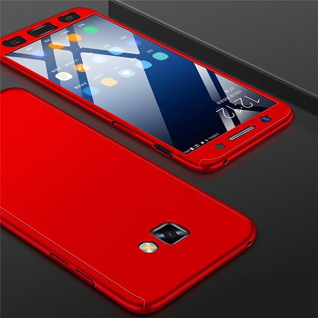 Модные 360 противоударный полное покрытие для samsung Galaxy A3 A5 J1 J3 J5 J7 J2 Prime A7 A6 A8 J4 J6 плюс чехол для телефона - Цвет: Красный
