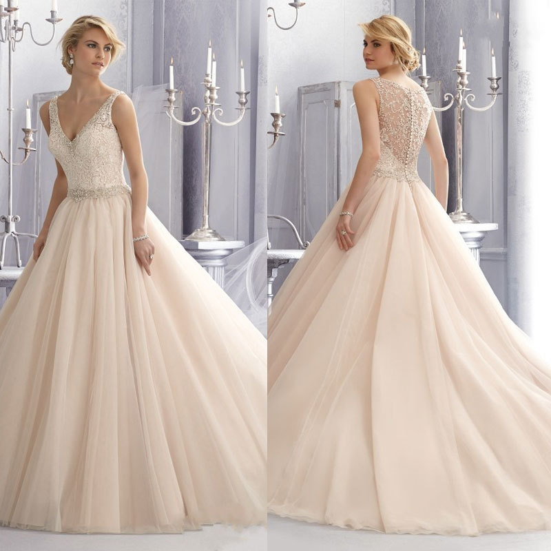 2015 New design Elegant Ball Gown V neck Zipper Lace Ivory Wedding ...