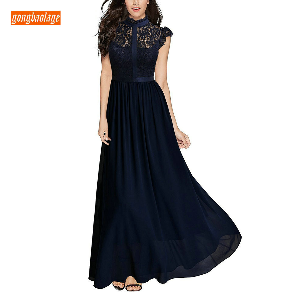 Fashion Dark Navy Long Evening Gowns 2019 New Black Party Formal Dresses O Neck Chiffon Lace