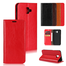 LUCKBUY For Samsung Galaxy J4 Plus Luxury UltraThin Genuine Leather Book Phone Case for J6 Flip Cover cases