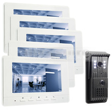 DIYSECUR 7inch Video DoorPhone Doorbell Intercom Metal Shell Camera LED Color Night Vision 5 Monitors White