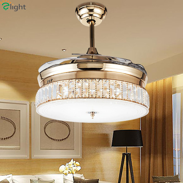 Modern Invisible Acrylic Led Ceiling Fan Lights Lustre Crystal Dining Room  Led Ceiling Fans Lamp Gold