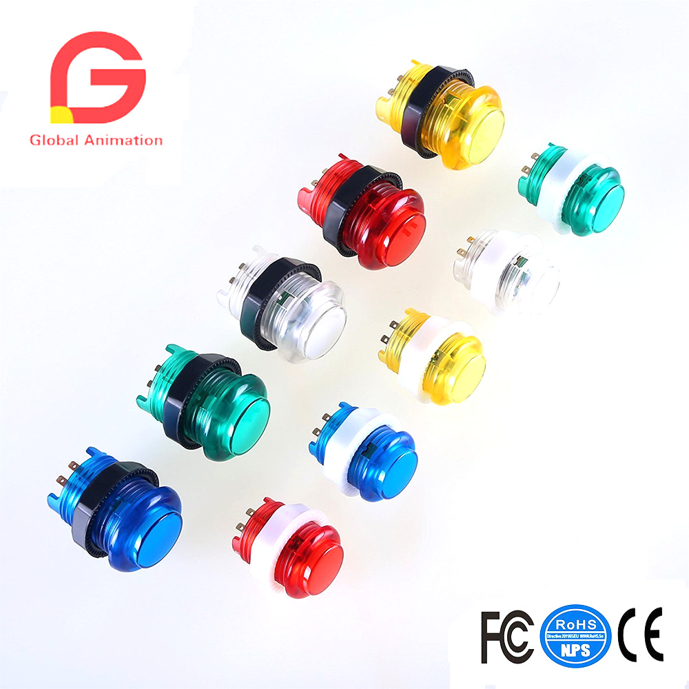 Sports & Entertainment 28mm Full Color Led Illuminated Push Button Built-in Switch 5v For Classic Arcade Joystick Games Mame Jamma Raspberry 8 Pcs 24 Entertainment