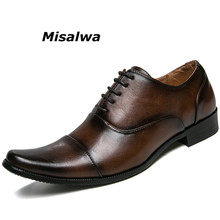 Misalwa Mens Dress Shoes Formal Leather Oxfords Lace up Black Brown Elegant For Men Classic Design Business Wedding Flats