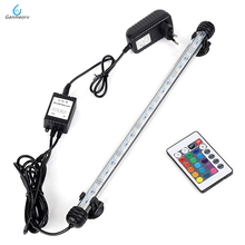38cm RGB Remote Aquarium Light Fish Tank Waterproof 5050 SMD LED Bar Light Aquatic Lamp Submersible EU US SAA UK plug 46cm 18pcs led aquarium fish tank light tube bar light underwater submersible air bubble safe lighting us eu uk saa plug