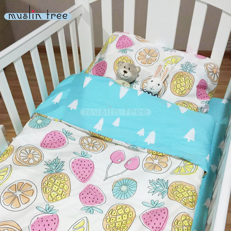 3PCS Set 100% Cotton Kids Bedding Set Cartoon Baby Bedding Set for Girl Duvet Cover Bed Sheet Pillow Case Without Filler CP24