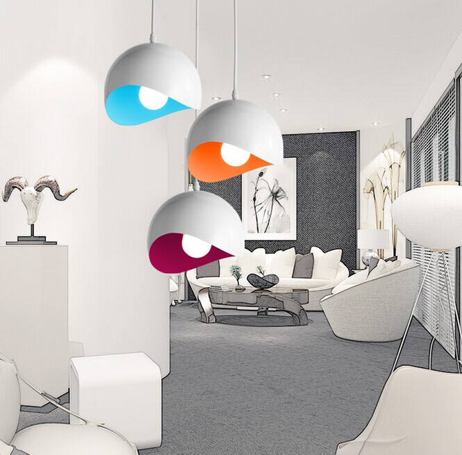 ФОТО Simple modern aluminum semicircle LED handing lamps Livingroom creative eggshell pendant lights Restaurant bar lamp