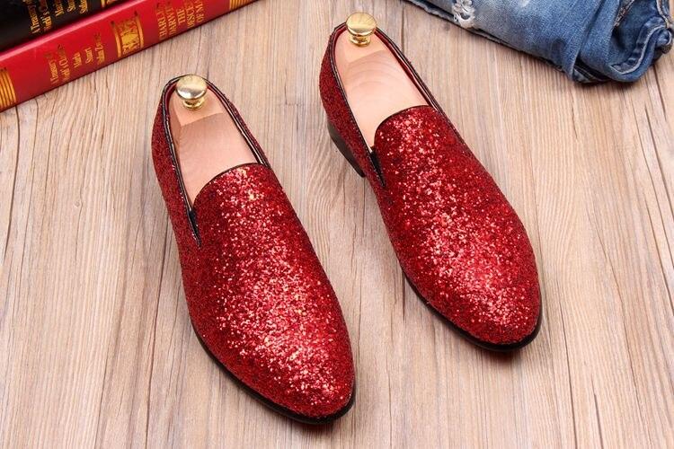 Sequined Mens Fashion Glitter Slip On Shoes 2018 Black Red Sliver Gold Spring Male Wedding Shoes