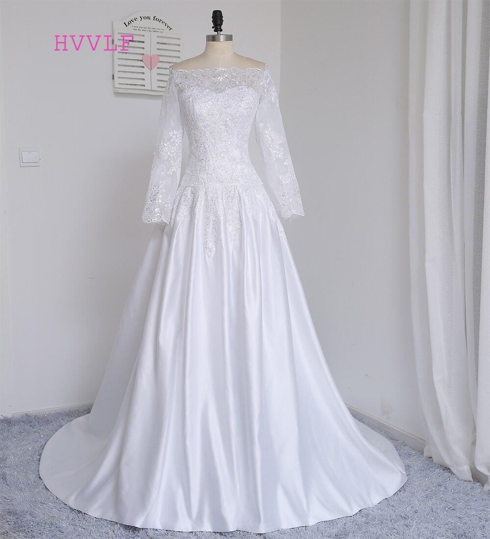 ୧ʕ ʔ୨Real Photo 2018 Muslim Wedding Dresses A-line Long Sleeves ...