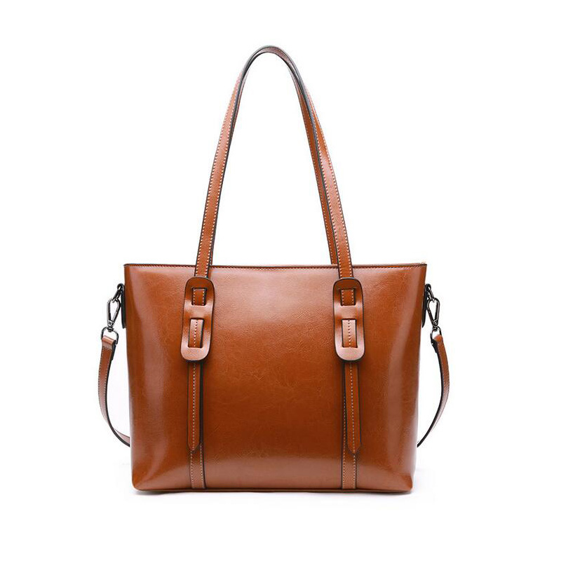 Bagaj ve Çantalar'ten Omuz Çantaları'de Yeni balmumu yağı Deri Lüks Çanta Kadın Çanta Tasarımcısı Vintage omuz çantaları Bayanlar Yumuşak büyük Tote Kahverengi Çanta bolsa feminina'da  Grup 2