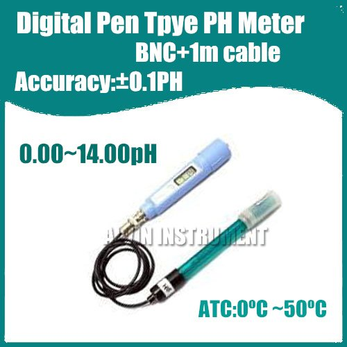 Free Shipping Digital Pen Type Pocket Digital PH Meter Tester Acidimeter  BNC+1m cable  Accuracy:0.1pH Resolution:0.01pH ATC  free shipping ph stick ph meter ph pen tester pen type range 2 1 10 8ph waterproof atc accuracy 0 1ph