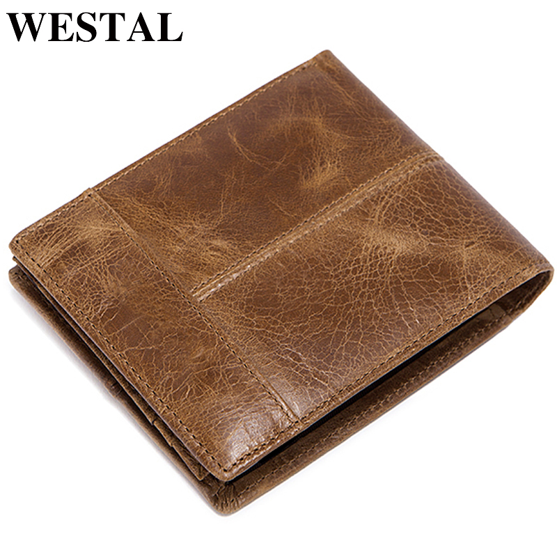 WESTAL Short Wallet Purse Standard-Card-Holders Vintage Men's Casual 8064