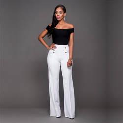 Мода 2017 г. свободные длинные Bodycon брюки осень/зима Для женщин Высокая талия широкие расклешенные брюки Офисные женские туфли белые черные