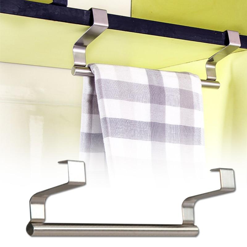 Bathroom Towel Holder Hanging Kitchen Cupboard Storage Holders Racks Stainless Steel Door Back Towel Storage Rack
