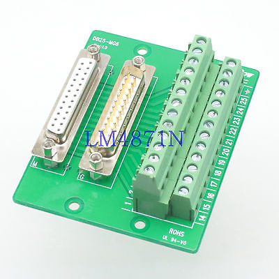 D-SUB male female 25pin DB25 Terminal Breakout PCB Board header row 2 Adapter hot factory direct wholesale db9 d sub vga male plug 9pin port terminal breakout pcb rs232 485 2 row screw