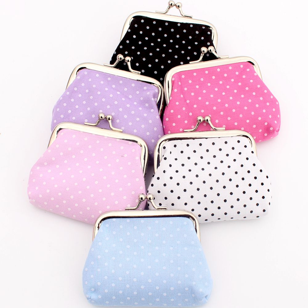 Cute dot design coin purse kids clutch Cotton cloth zero wallet women Hasp COINS bags girl's change purse pouch lady key packet dachshund dog design girls small shoulder bags women creative casual clutch lattice cloth coin purse cute phone messenger bag