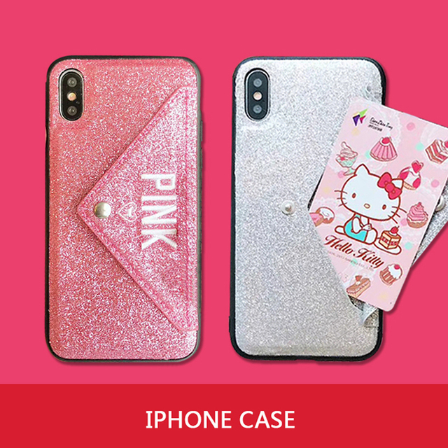 new styles e7403 1fa56 US $2.8 20% OFF|Luxury PINK Brand NEW Glitter Embroidery Leather Fashion  Hot Cute Pink Case for iPhone 7 Plus 7+ 8 Plus 6 6s Plus X Phone Secret-in  ...
