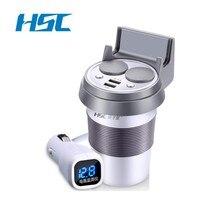 Marca HSC 12-24 V 3.1A Cargador de Coche USB y Interruptor De Voltaje de Salida de Carga Rápida Sostenedor de Taza Del Coche Adaptador de Enchufe del Encendedor de cigarrillos
