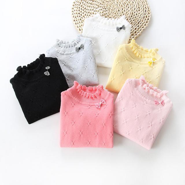 Criança do sexo feminino pullover camisola de outono e inverno camisola de algodão de alta gola redonda cor sólida básico camisa do bebê