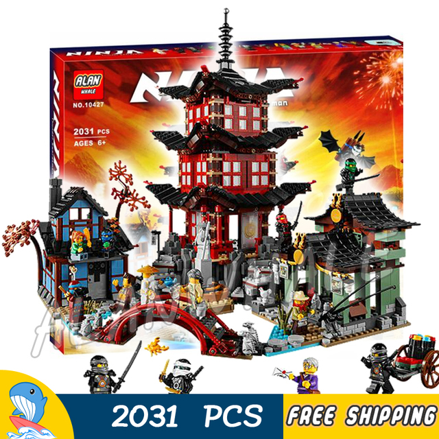 2028pcs Ninja City Temple of Airjitzu Village Workshop Market 10427 ...