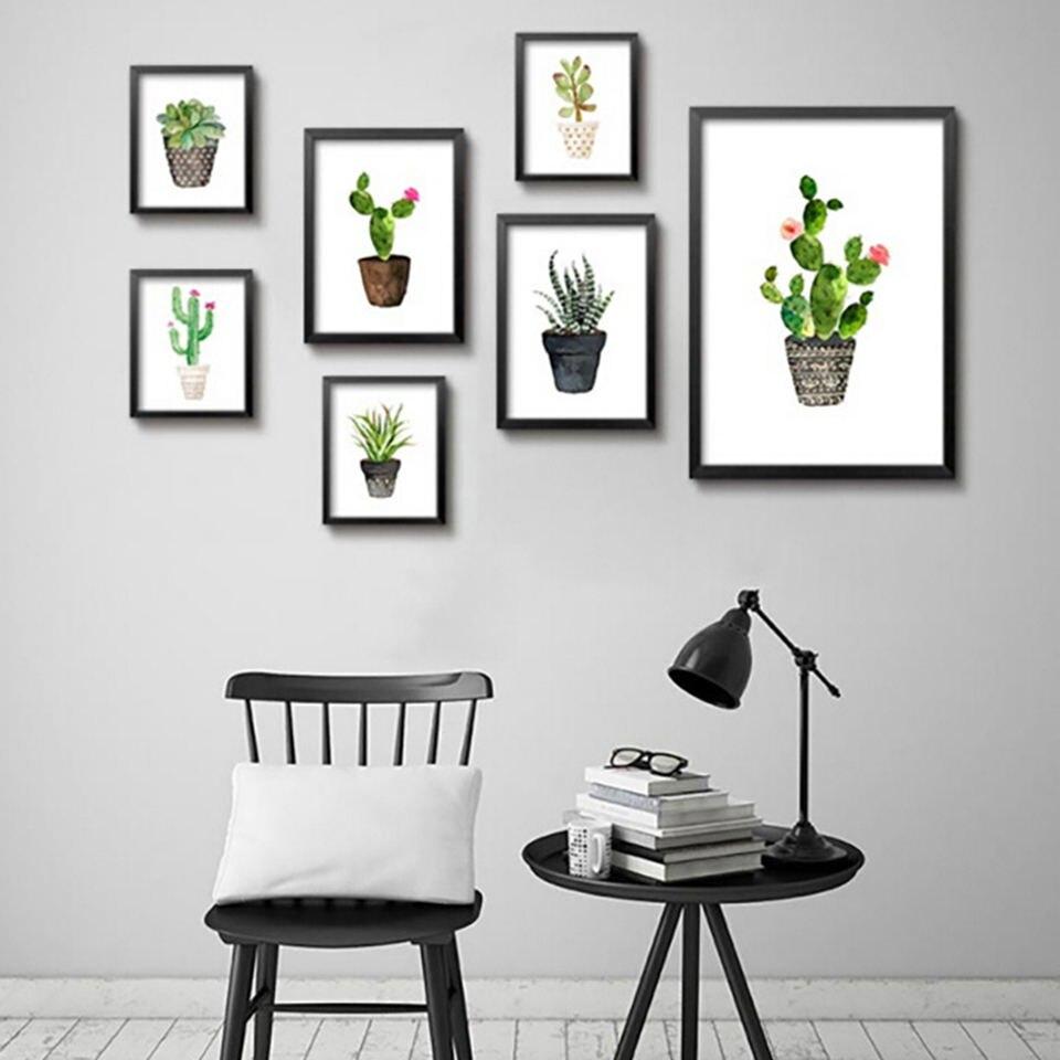 Chapters Home Decor: Nordic Watercolor Succulent Green Plants Poster Canvas Art