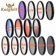Knightx 49 мм 52 мм 55 мм 58 мм 62 мм 67 мм 72 мм 77 мм ND2 ND4 ND8 ND FLD УФ CPL MCUV MC для Nikon Canon Go Pro D5300 600d D3200 D5100