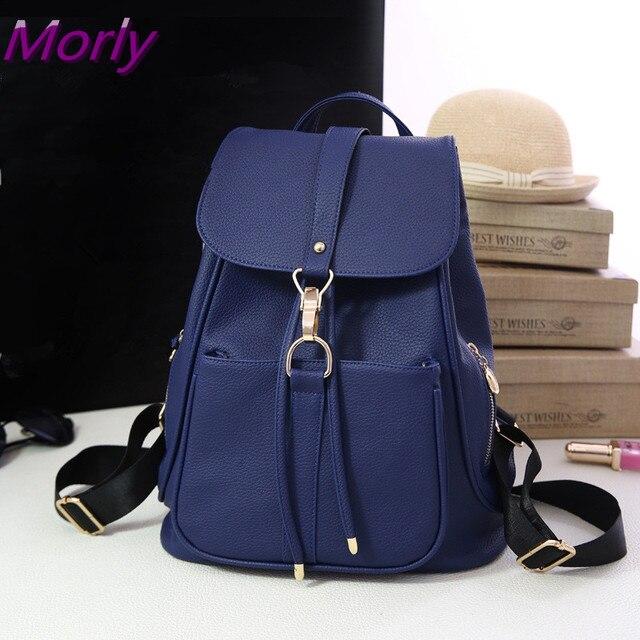 2429fddeff071d Morly Fashion Black Leather School Bag Travel Backpack Satchel Women  Shoulder Rucksack vintage backpack for girls bolsas