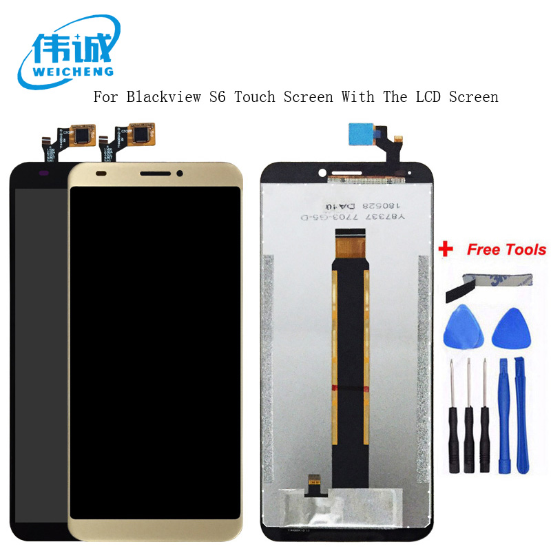 WEICHENG Tested Well For Blackview S6 LCD Display + Touch Screen  100% Screen Digitizer Assembly Replacement +Free ToolsWEICHENG Tested Well For Blackview S6 LCD Display + Touch Screen  100% Screen Digitizer Assembly Replacement +Free Tools