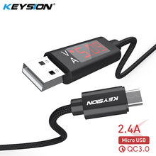 KEYSION 2.4A LED Digital Micro USB Cable For Xiaomi Huawei Samsung OPPO Voltage Current Display Charger Data Braided Phone Cable digital lcd display micro usb data charging voltage current cable cord for android phone