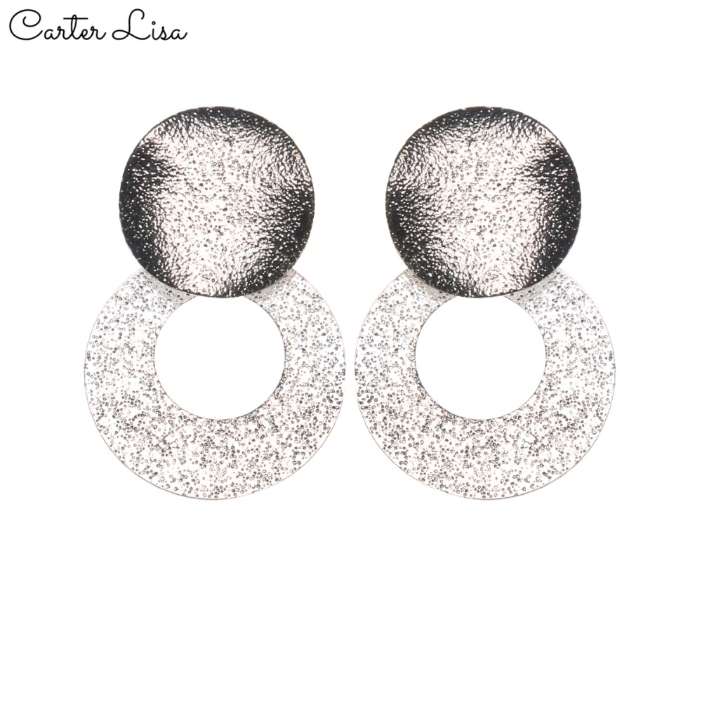 CARTER LISA 2019 NEW Fashion Design Sliver Color Geometric Round Scrub Metal Splicing Earrings For Women Jewelry HDEA-052